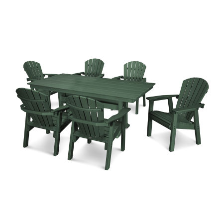 7 Piece Seashell Dining Set in Green