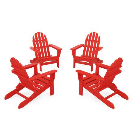 4-Piece Classic Folding Adirondack Conversation Set in Sunset Red