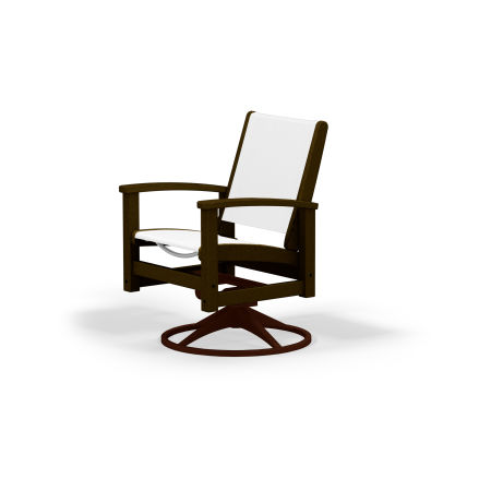 Coastal Swivel Rocking Chair in Textured Bronze / Mahogany / White Sling