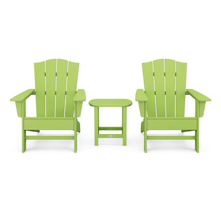 Wave 3-Piece Adirondack Chair Set with The Crest Chairs in Lime