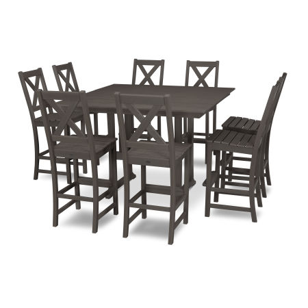 Braxton 9-Piece Farmhouse Trestle Bar Set in Vintage Finish