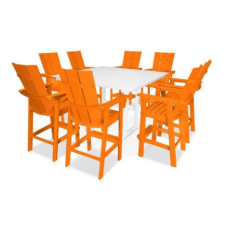 Modern Adirondack 9-Piece Farmhouse Bar Set in Tangerine / White