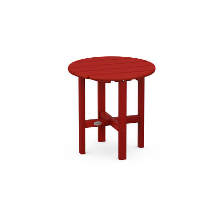 "Round 18"" Side Table in Crimson Red"