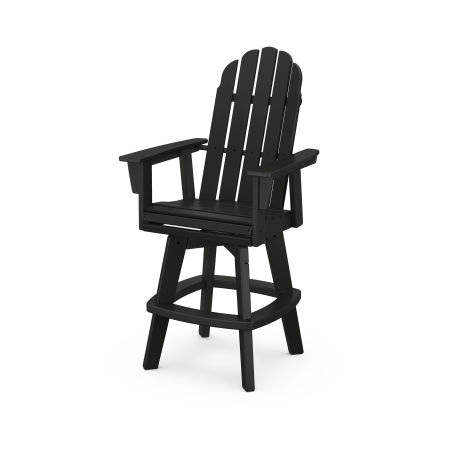 Vineyard Adirondack Swivel Bar Chair in Black