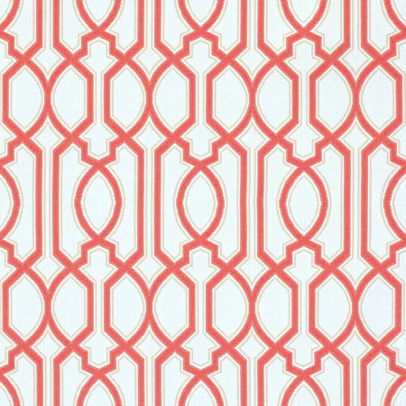 Chelsey Trellis Coral Performance Fabric Sample