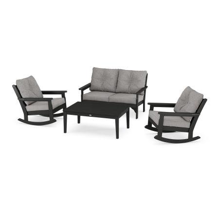 Vineyard 4-Piece Deep Seating Rocking Chair Set in Black / Grey Mist