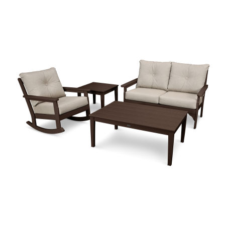 Vineyard 4-Piece Deep Seating Rocking Chair Set in Mahogany / Cast Ash