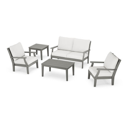 Braxton 5-Piece Deep Seating Set in Slate Grey / Natural Linen