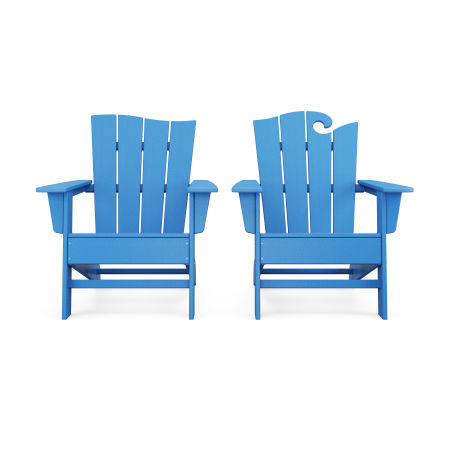 Wave 2-Piece Adirondack Set with The Wave Chair Left in Pacific Blue