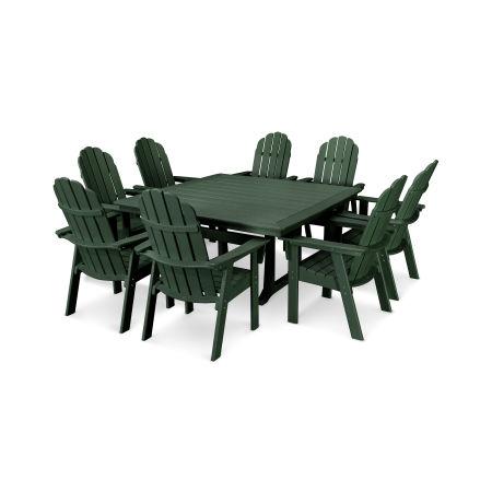 Vineyard Adirondack 9-Piece Nautical Trestle Dining Set in Green