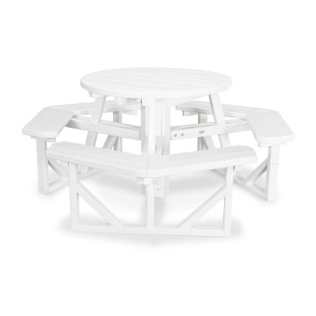 """Park 36"""" Round Picnic Table in White"""