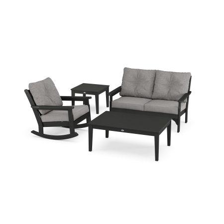 Vineyard 4-Piece Deep Seating Rocker Set in Black / Grey Mist