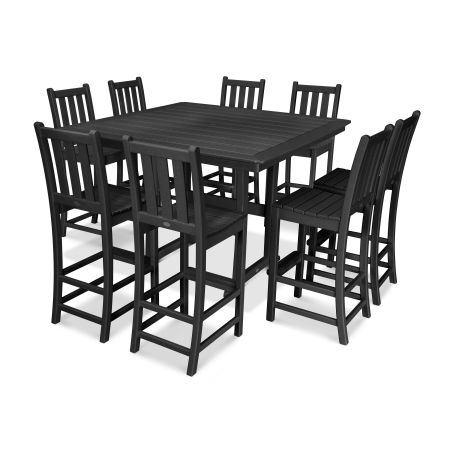 9-Piece Nautical Trestle Bar Set in Black