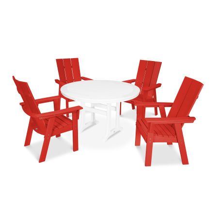 Modern Adirondack 5-Piece Nautical Trestle Dining Set in Sunset Red / White