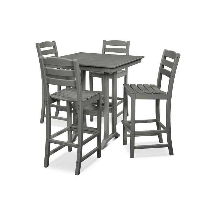 La Casa Café 5-Piece Farmhouse Trestle Bar Set