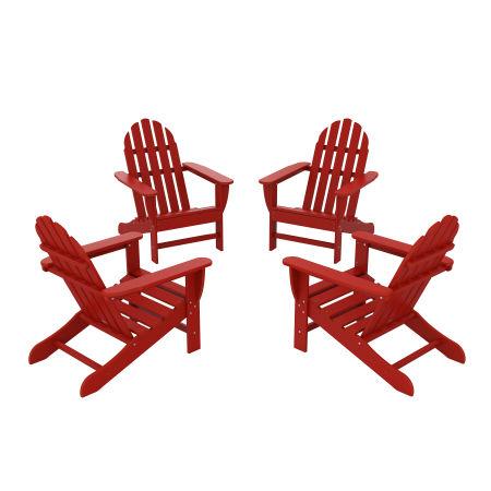 4-Piece Classic Adirondack Conversation Set in Crimson Red