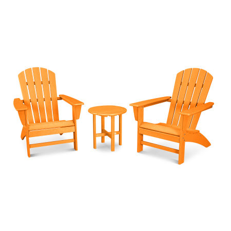 Nautical 3-Piece Adirondack Set in Vintage Tangerine