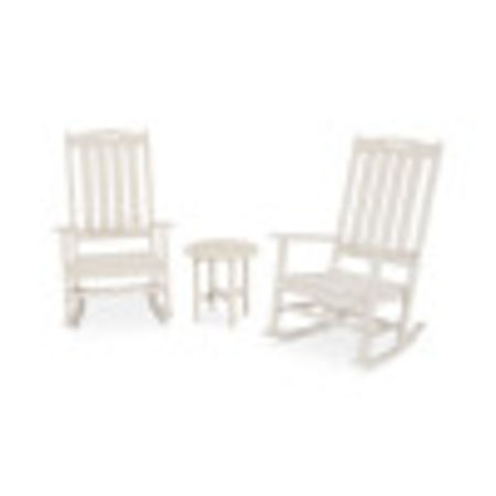 Nautical 3-Piece Porch Rocking Chair Set in Sand