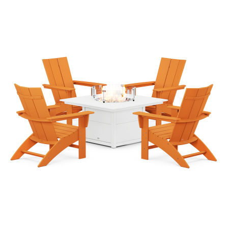 Modern Curveback Adirondack 5-Piece Conversation Set with Fire Pit Table in Tangerine