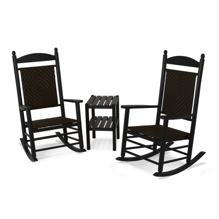 Jefferson 3-Piece Woven Rocking Chair Set in Black Frame / Cahaba