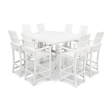 Adirondack 9-Piece Farmhouse Bar Set in White