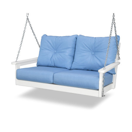 Vineyard Deep Seating Swing in White / Air Blue