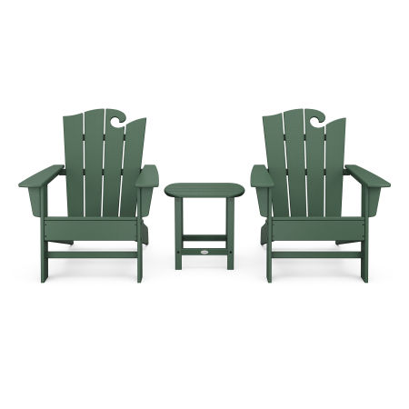 Wave 3-Piece Adirondack Set with The Ocean Chair in Green