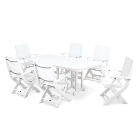 Coastal 7-Piece Dining Set in White / White Sling