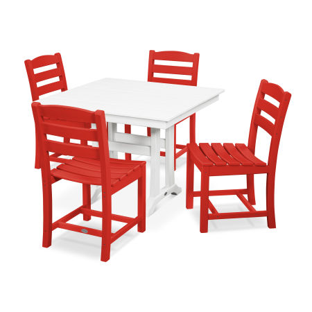 La Casa Café 5-Piece Farmhouse Trestle Side Chair Dining Set in Sunset Red / White