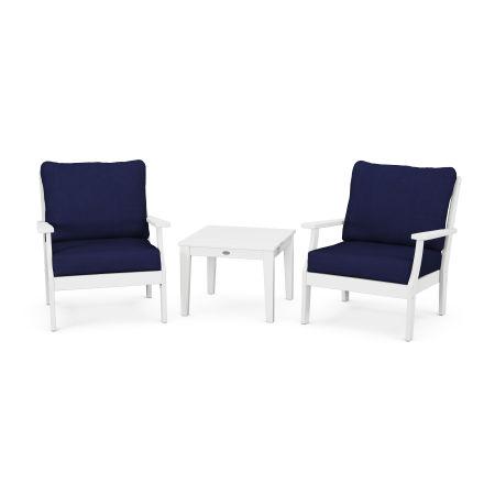 Braxton 3-Piece Deep Seating Set in White / Navy