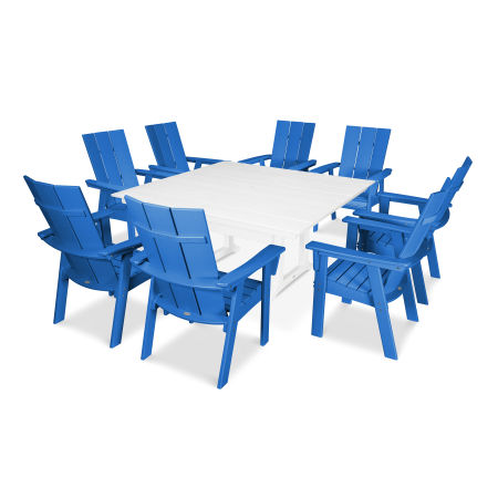 Modern Adirondack 9-Piece Farmhouse Dining Set in Pacific Blue / White