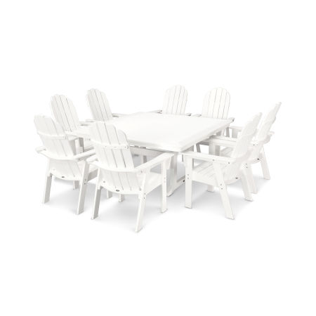Vineyard Adirondack 9-Piece Nautical Trestle Dining Set in White