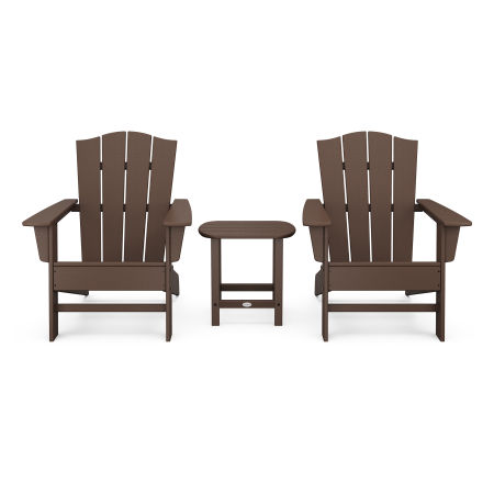 Wave 3-Piece Adirondack Chair Set with The Crest Chairs in Mahogany