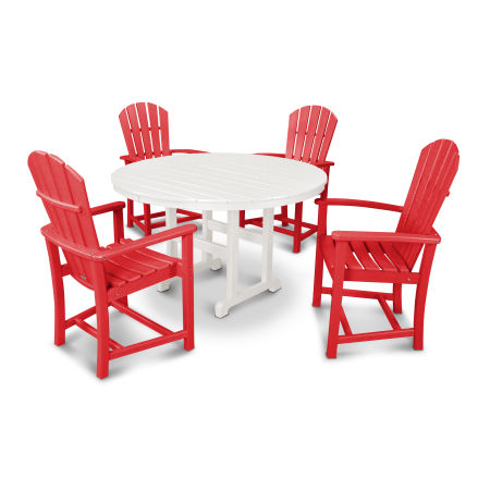 Palm Coast 5-Piece Dining Set in Sunset Red / White