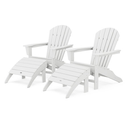 South Beach 4-Piece Adirondack Set in White