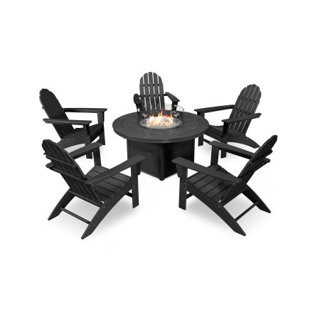 Vineyard Adirondack 6-Piece Chat Set with Fire Pit Table in Black