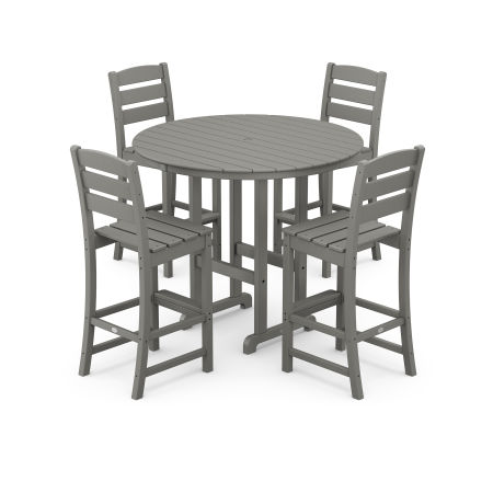 Lakeside 5-Piece Round Bar Side Chair Set in Slate Grey