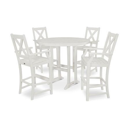 Braxton 5-Piece Nautical Trestle Arm Chair Bar Set in Vintage White