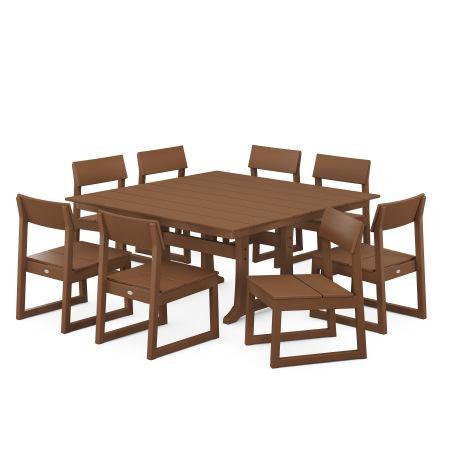 EDGE 9-Piece Farmhouse Trestle Dining Set in Teak