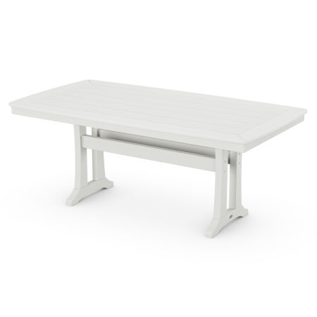 """Nautical Trestle 38"""" x 73"""" Dining Table in Vintage White"""