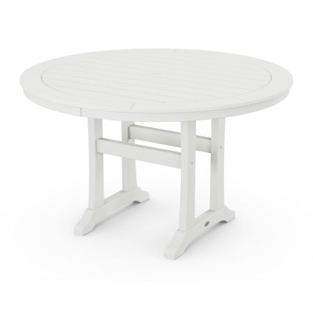 """Nautical Trestle 48"""" Round Dining Table in Vintage White"""