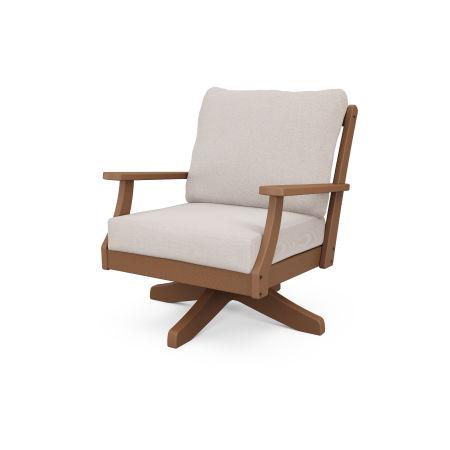 Braxton Deep Seating Swivel Chair in Teak / Dune Burlap
