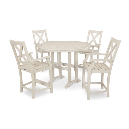 Braxton 5-Piece Nautical Trestle Arm Chair Counter Set in Sand