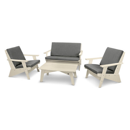 Riviera Modern Lounge 4-Piece Set in Sand / Blend Coal