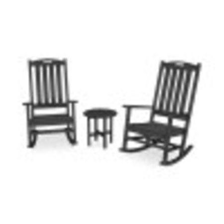 Nautical 3-Piece Porch Rocking Chair Set in Black