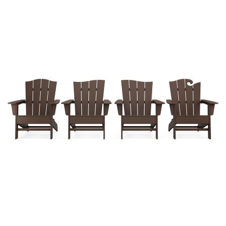 Wave Collection 4-Piece Adirondack Chair Set in Mahogany