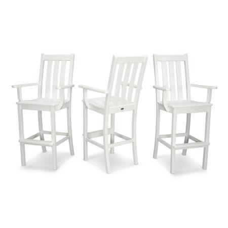 Vineyard Bar Arm Chair 3-Pack in Vintage White
