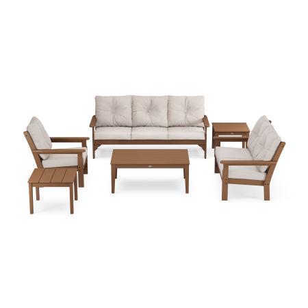 Vineyard 6-Piece Deep Seating Set in Teak / Dune Burlap