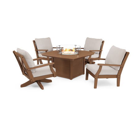 Braxton 5-Piece Deep Seating Set with Fire Table in Teak / Dune Burlap