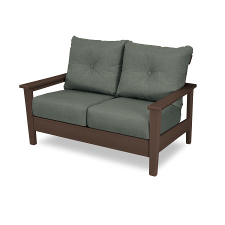 Prescott Deep Seating Settee in Mahogany / Cast Sage